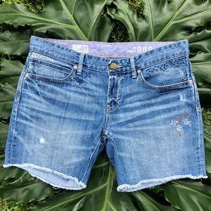 Gap Embroidered Boyfriend Jean Shorts